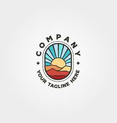 adventure mountain and sunset logo symbol design vector image