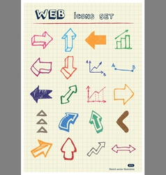 Arrows web icons set drawn by color pencils vector image