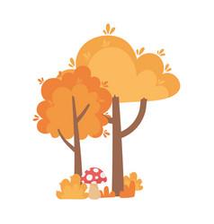 autumn trees mushroom bush isolated icon style vector image