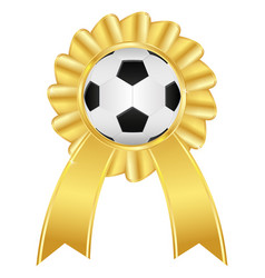 award badge golden sign with soccer ball vector image