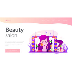 Beauty salon landing page template vector