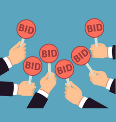 bidder hands holding auction paddle buyer vector image