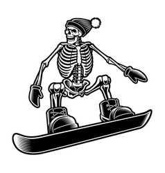 black and white a skeleton vector image