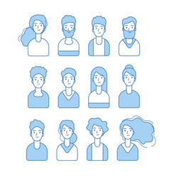 blue line avatars various male and female vector image