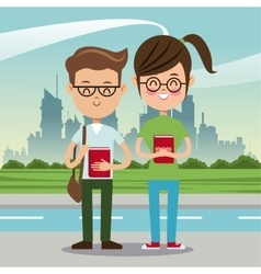 Boy and girl student nerd urban background vector