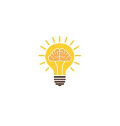 brain inside a lamp light shining idea vector image