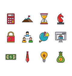 business startup success icons set vector image