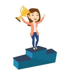 Businesswoman proud of her business award vector