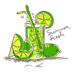 Cartoon cocktail with lime vector image