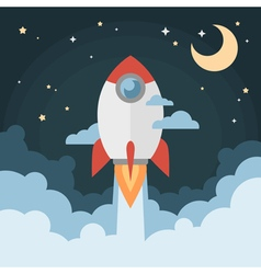Cartoon modern flat rocket launch flying in space vector