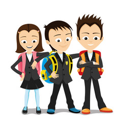 Cheerful school children vector