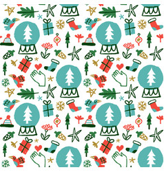 christmas holiday nature doodles seamless pattern vector image