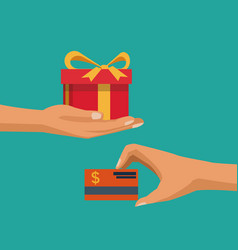 color background with hands holding a gift and vector image