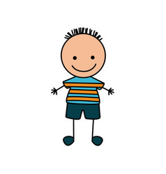 colorful hand drawing cute boy with striped shirt vector image