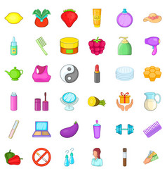 cosmetic product icons set cartoon style vector image