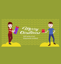 couple holding gift boxes for each other happy new vector image