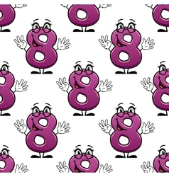 Cute happy waving number 8 seamless pattern vector image