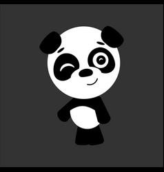 cute panda panda winks gray background vector image