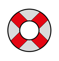 Cute red lifebuoy icon cartoon vector
