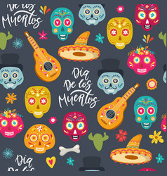 day dead seamless pattern vector image