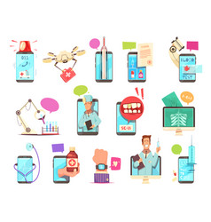 digital health medical technologies set vector image