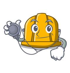 Doctor construction helmet character cartoon vector