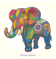 Elephant rainbow colorful ornament ethnic vector image