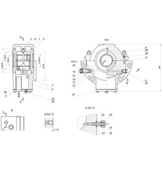 Expanded bearing sketch with different elements vector