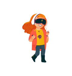 Flat girl using virtual reality glasses vector