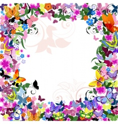 frame floral pattern with butterflies vector image