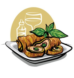 fried chicken spring roll vector image