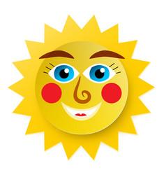 funky sun cartoon paper cut abstract symbol vector image