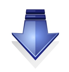 Glossy blue icon of an arrow pointing down vector