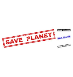 grunge save planet textured rectangle watermarks vector image
