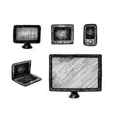 Hand drawn computer technics vector