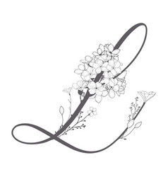 hand drawn floral l monogram and logo vector image