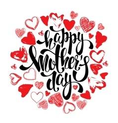 Happy Mothers day greeting card with hearts vector image
