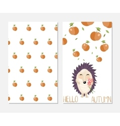 Hello autumn Stylish inspiration card in cute vector image