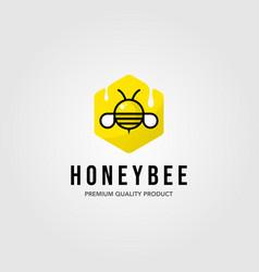 Honeybee hexagon logo village farm design vector