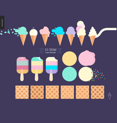 ice cream scoops in waffle cones set on a dark vector image