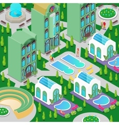 Isometric Hotel Building with Swimming Pool vector