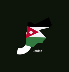 jordan initial letter country with map and flag vector image