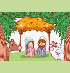 Joseph and mary in the manger with cow and sheep vector