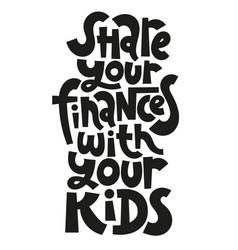 Kid finance lettering vector