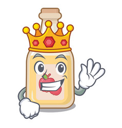 King bottle apple cider above cartoon table vector