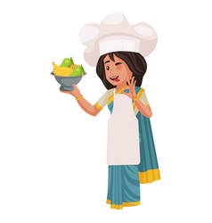 Lady chef cartoon character vector