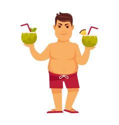man at summer beach on holiday vacations vector image