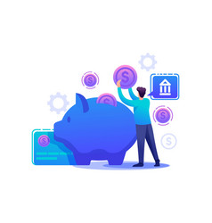 man puts money in a piggy bank invests money vector image
