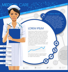 medical template with a nurse girl round frames vector image