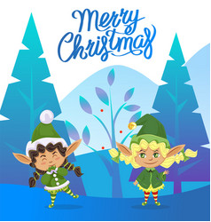 Merry christmas greeting card with xmas elves vector